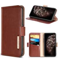 """iPhone 11 Pro Max Case Wallet,DUEDUE Kickstand and Credit Card Slots,Premium Synthetic Leather Magnetic Closure Folio Flip Cover Case for iPhone 11 Pro Max 6.5"""" 2019,Brown"""
