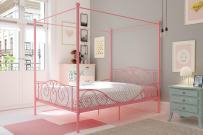 DHP Canopy Metal Bed with Sturdy Bed Frame, Pink, Full