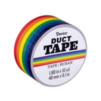 Darice Patterned Primary Rainbow, 1.88 Inches x 10 Yards Duct Tape, Multicolor