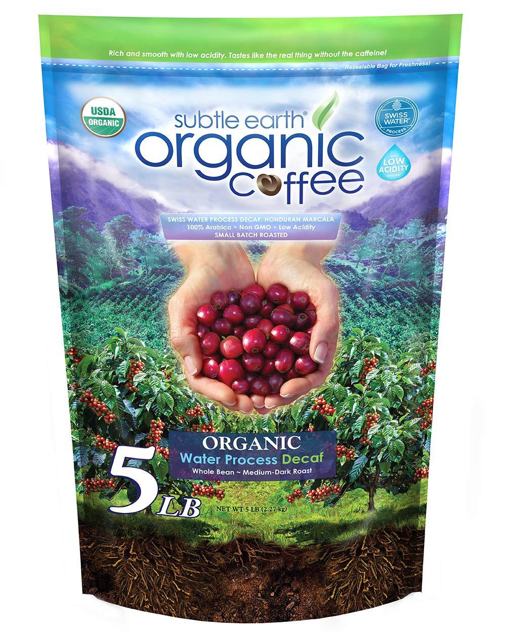 5LB Subtle Earth Organic Swiss Water Process Honduran Marcala Gourmet Coffee Decaffeinated - Medium-Dark Roast - Whole Bean Coffee - 5 Pound ( 5 lb ) Bag