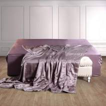 THXSILK 100% Silk Blanket for Bed Top Grade Long-Strand Silk Quilted Coverlet/Bedspread Soft & Cozy (Purple, California King)