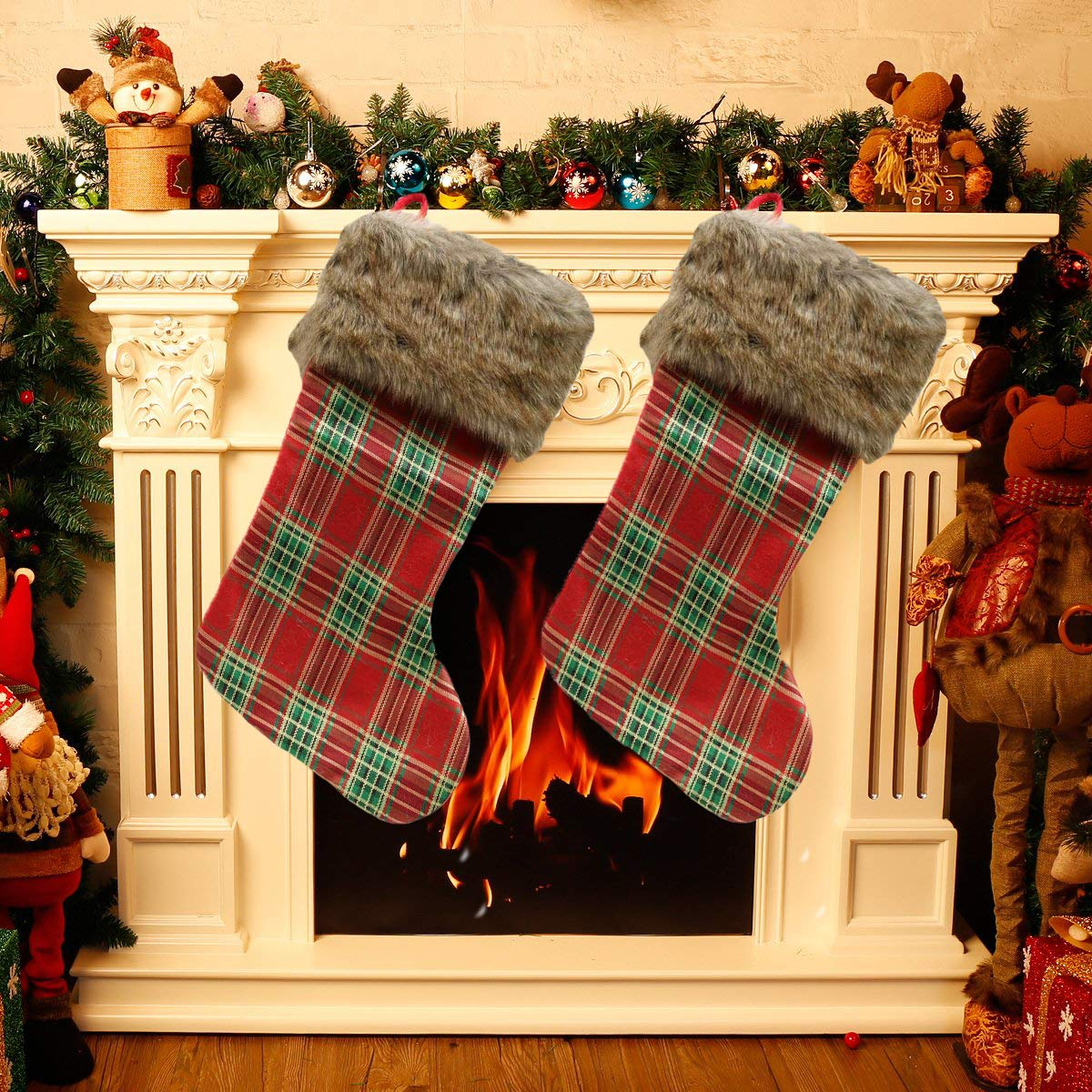SDKBVOC 2 Pcs Set Big Size Classic Christmas Stockings for Decoration, Classic Style Plaidwith Holiday Spirit Cardinal Personalized Christmas Stocking