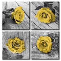 JiazuGo - Canvas Wall Art Decor Yellow Rose Flowers Black White Gray Still Life Pictures Valentine's Day Print Framed Paintings for Outdoor and House Wall Decorations for Living Room Women Bedroom