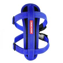 EzyDog Premium Chest Plate Custom Fit Reflective No-Pull Padded Comfort Dog Harness - Perfect for Training, Walking, and Control - Includes Car Restraint Attachment (Large, Blue)