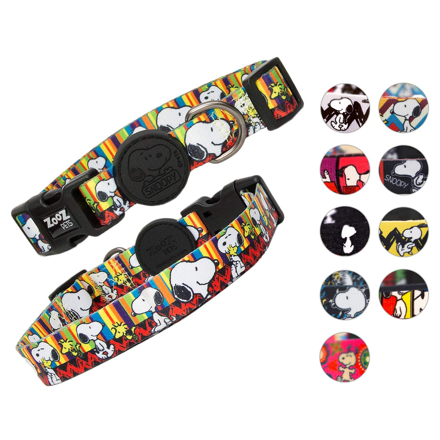 ZOOZ PETS Snoopy Dog Collar - Adjustable Dog Collars (Non Slip Collar) - High - Quality & Water Resistant (NO Stink Collar) - Extra Safety Strong Buckle - 10 Unique Designs of Dogs