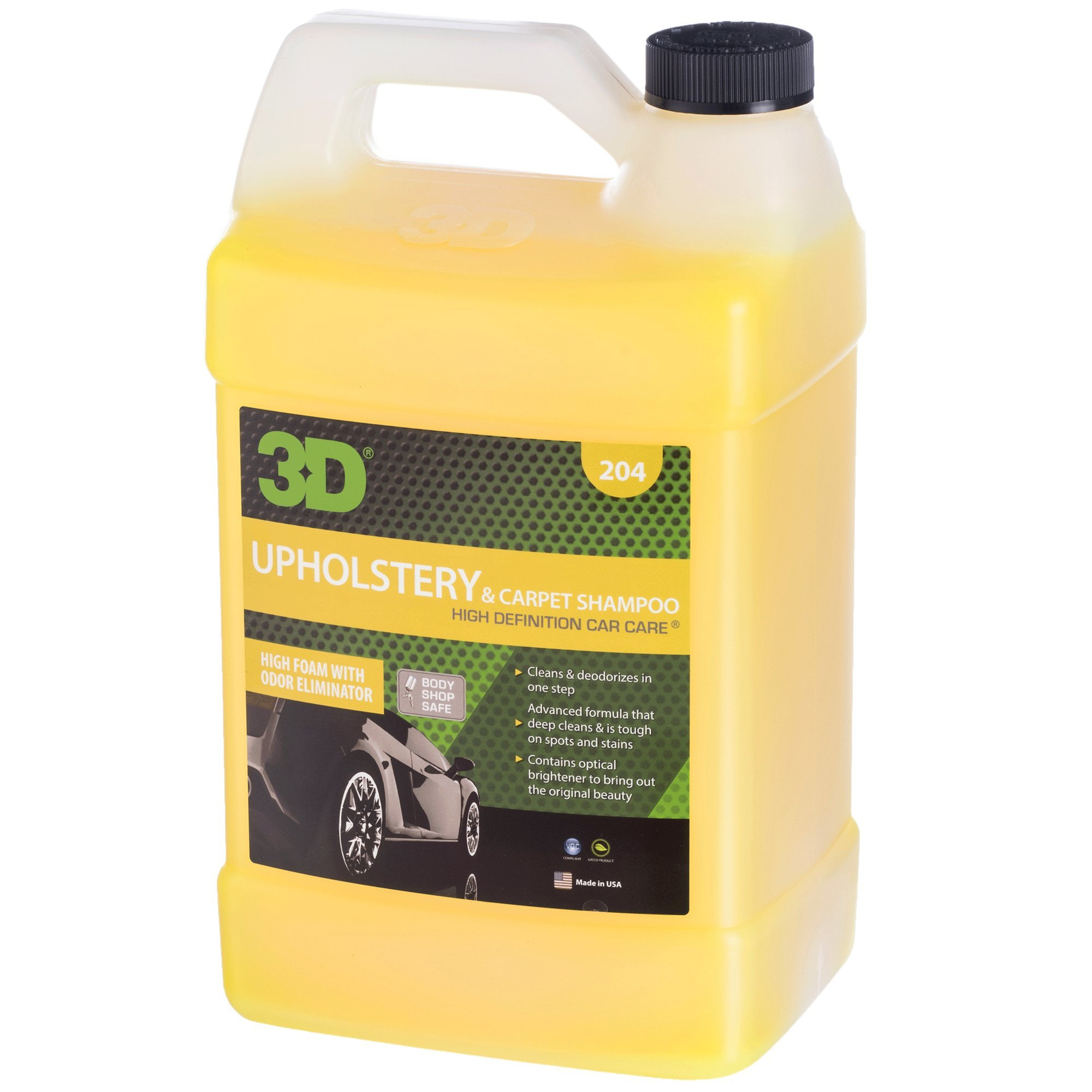 3D Upholstery & Carpet Shampoo - 1 Gallon   High Foam Stain Remover   Clean & Deoderize   Odor Eliminator   Made in USA   All Natural   No Harmful Chemicals