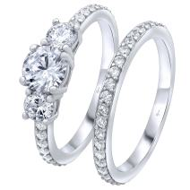 Luxurious Sterling Silver .925 Precious Metal VVS1 Clarity 0.75 CTW AAA (CZ) Cubic Zirconia 3 Stone Round Cut Woman's 2 Piece Set Ring, Platinum/Rhodium Plated. Available Sizes 5 6 7 8 9 10