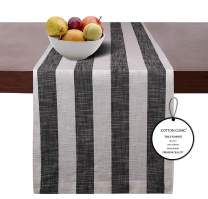 Cotton Clinic 2 Pack Cotton Table Runners Farmhouse 72 Inch, 16x72 Wedding Table Runners, Rustic Bridal Shower Decor Dining Table Runners with Mitered Corners and Generous Hem - Black White