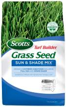 Scotts Turf Builder Grass Seed Sun & Shade Mix - Shade & Drought Resistant Grass Seed for Lawns, Aggressively Spreading Grass Seed, Seeds up to 2,800 sq. ft, 7 lb.