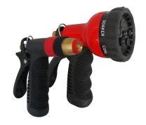 TABOR TOOLS W91A Metal Garden Hose Nozzle Set (2-Piece), 1 Water Pistol Nozzle and 1 Adjustable Shower Head with 7 Spray Patters. Features Grip Trigger Handles and Flow Control Knob.