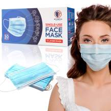Intrepid USA Made Disposable Face Masks - 3Ply Single Use Face Mask 50-Pack Protective 3- Layer Face Covering with Comfy Earloop Straps - Soft and Breathable facial Covers with Adjustable Nose Bridge