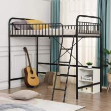 Twin Loft Bed with Full-Length Guardrail and Ladder, Metal Loft Bed Frame with Spacious Space, No Box Spring Needed, Black