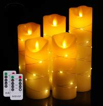 LED flameless Candle, with Embedded Starlight String, DANIP 5-Piece LED Candle, with 10-Key Remote Control, 24-Hour Timer Function, Dancing Flame, Real Wax, Battery-Powered. (Ivory White)