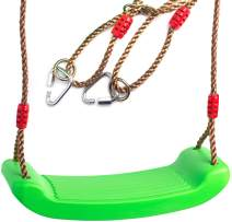 Cateam Swing seat Green for Kids and Adults with Length Control Hinge - 220lb Load - Ninja line Ready - Triangle carabiners Included - Playground Swing Set Accessories Replacement