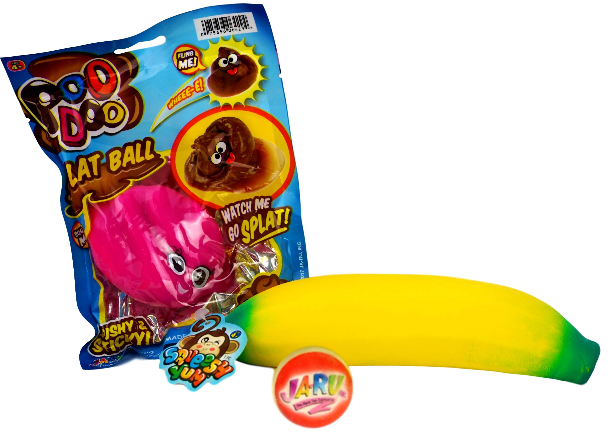 JA-RU Stretchy Banana and Pink Poo Splat Ball Bundle (2 Pack) Stress Relief Toy Party Favor for Kids and Adults. Sensory Toys for Autistic Children I 3340-6429Pkp