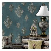 "JZ·HOME JZ118 Retro Blue Damask Wallpaper Rolls, Stereo Deep Embossed Vinyl Wallpaper Bedroom Living Room Hotel Wall Decoration 20.8"" x 393.7"""