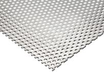 """3003 Aluminum Perforated Sheet, Unpolished (Mill) Finish, H14 Temper, Staggered Round 0.25"""" Holes, 0.125"""" Thickness, 8 Gauge, 24"""" Width, 24"""" Length, 0.375"""" Center to Center"""