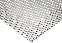 "3003 Aluminum Perforated Sheet, Unpolished (Mill) Finish, H14 Temper, Staggered Round 0.125"" Holes, 0.063"" Thickness, 14 Gauge, 12"" Width, 48"" Length, 0.1875"" Center to Center"