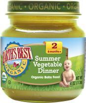 Earth's Best Organic Stage 2 Baby Food, Summer Vegetable Dinner, 4 oz. Jar (Pack of 12)
