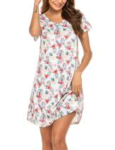 Ekouaer Women's Soft Nightgown Sleepwear Short Sleeves Scoop Neck Casual Print Sleepdress S-XXL