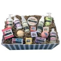 Spa Gift Baskets for Women | Gluten-Free Vegan 16 Piece Set Includes Organic Body Bars, Hand Soap, Moisturizing Cream, Body Wash, Sugar Scrub, Shampoo & Conditioner, Candle and Bath Bombs