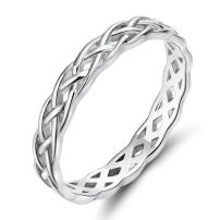 925 Sterling Silver Ring 4mm Eternity Celtic Knot Wedding Band for Women Size 3-13