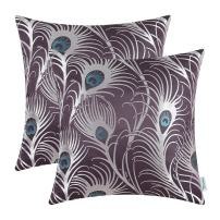 CaliTime Pack of 2 Throw Pillow Covers Cases for Couch Sofa Home Decoration Modern Peacock Feathers 18 X 18 Inches Aubergine