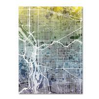 Portland Oregon Street Map V by Michael Tompsett, 18x24-Inch Canvas Wall Art