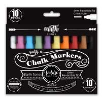 Loddie Doddie Liquid Chalk Markers - Earth Tones - Pack of 10 Chalk Pens - Perfect for Chalkboards, Blackboards, Windows, Glass, Bistro | 6mm Reversible Bullet & Chisel Tip Erasable Ink