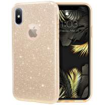 """MILPROX Glitter case for iPhone Xs iPhone X 5.8"""", Shiny Sparkle Bling, 3 Layer Hybrid Protective Soft Case - Gold"""