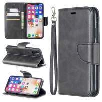 EYZUTAK Wallet Case for iPhone XR, Soft Printed PU Leather Phone Case Full Protection Solid Color Magnetic Flip Buckle Case Kickstand Cover for iPhone XR - Black