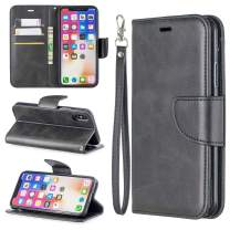 EYZUTAK Wallet Case for iPhone X/XS, Soft Printed PU Leather Phone Case Full Protection Solid Color Magnetic Flip Buckle Case Kickstand Cover for iPhone X/XS - Black