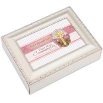 Cottage Garden Special Girl Celebrate First Communion Ivory Rope Trim Jewelry Music Box Plays Ave Maria