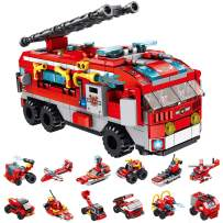 CLOURF City fire Assault car Building Toy kit 12in1 Compatible with Most Major Brands of Building Bricks