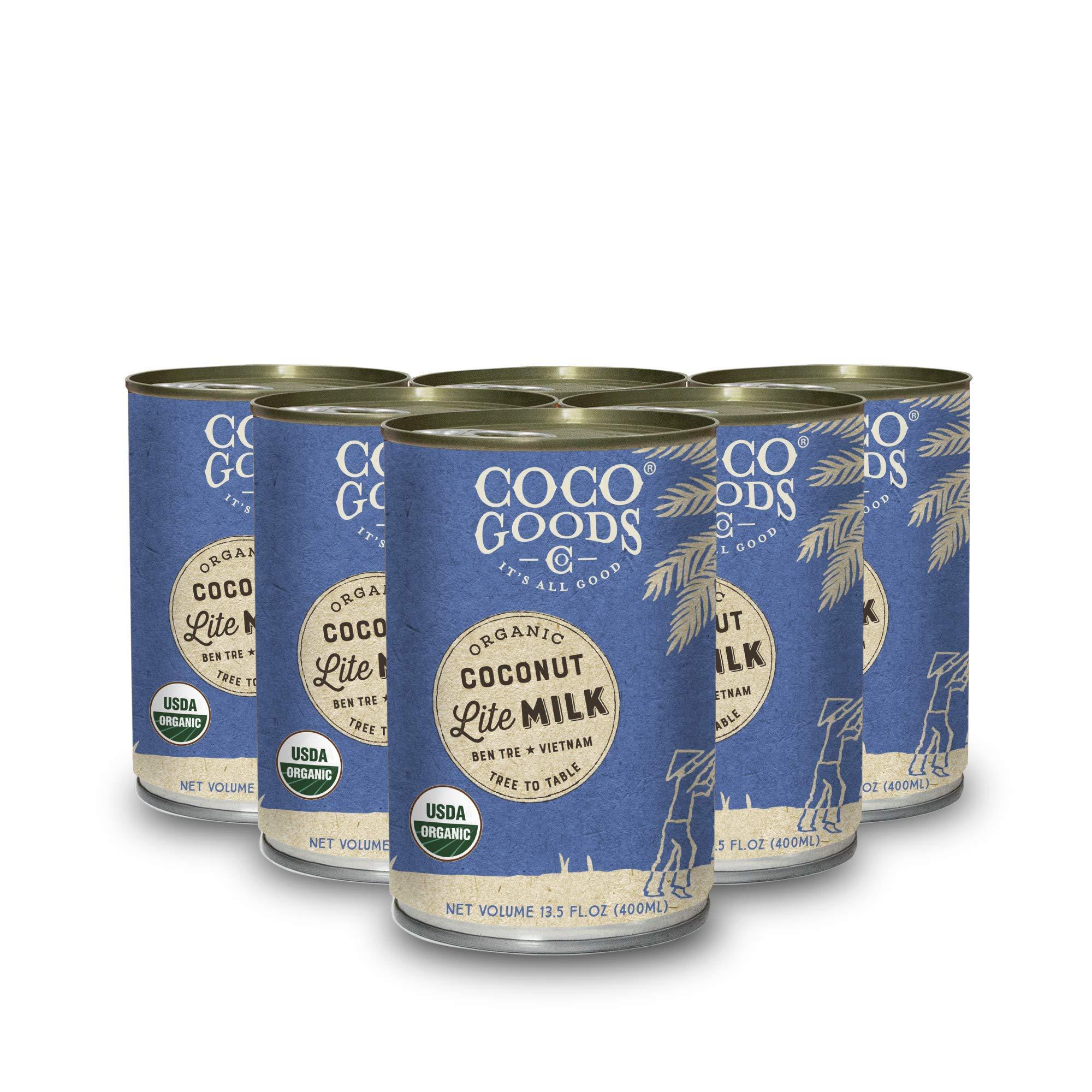 CocoGoodsCo Vietnam Single-Origin Organic Coconut Milk Lite/Light/Low-fat 13.5 fl. oz - Gluten-free, Non-GMO, Vegan, & Dairy-free (Pack of 6)