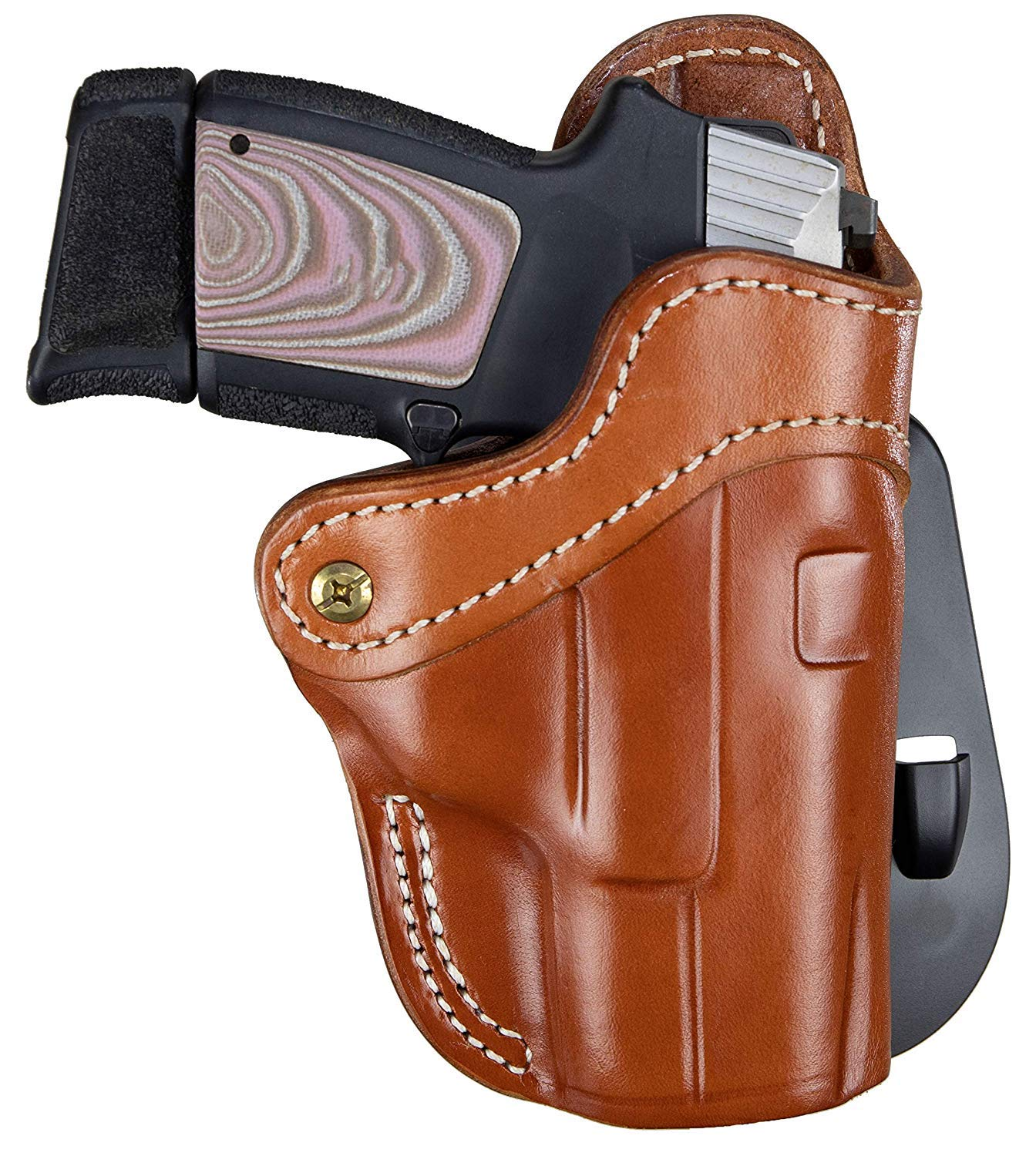 1791 GUNLEATHER Glock 19 Paddle Holster - OWB CCW G19 Holster - Right Handed Leather Gun Holster for Belts - Compatible with Glock 19, 23, 27, Sig P225, Springfield XDS