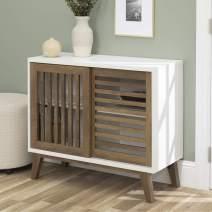 "WE Furniture AZ36SSDSW TV Stand, 36"", White/Rustic Oak"