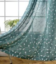 MIUCO Floral Embroidered Semi-Sheer Curtains Faux Linen Grommet Curtains for Living Room 52 x 84 Inch 2 Panels Set, Teal