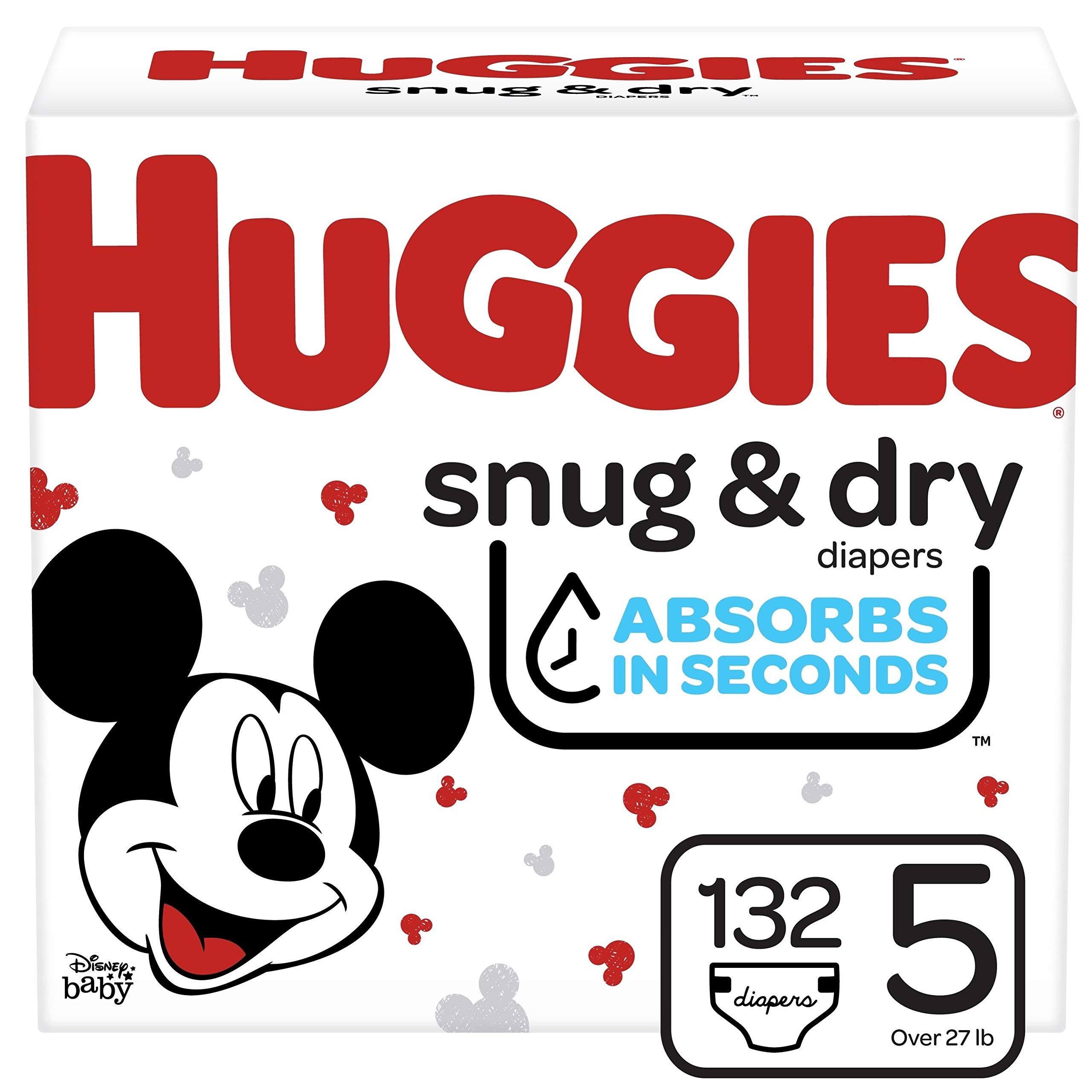 Huggies Snug & Dry Baby Diapers, Size 5, 132 Ct