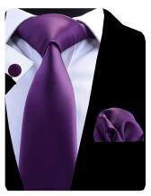 GUSLESON Solid Color Formal Necktie and Pocket Square Cufflinks Sets for Men + Gift Box