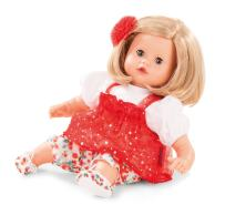 """Gotz Muffin 13"""" Soft Baby Doll with Blonde Hair and Blue Sleeping Eyes in Red Dress"""