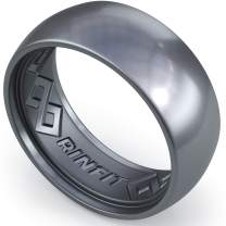 Rinfit Silicone Wedding Ring for Men. 1/4/7 Rings Packs. Inner Step Edge Patent Pending Design. Silicon Rubber Mens Wedding Band. Sizes 8-14