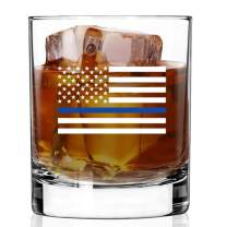 BACK THE BLUE WHISKEY GLASS | Commercial Grade Heavy Weighted Base 11oz Rock Glasses | Made in USA from LUCKY SHOT (THIN BLUE LINE - 2C)