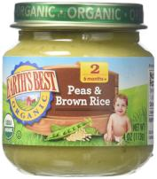 Earth's Best Organic Stage 2 Baby Food, Peas and Brown Rice, 4 oz. Jar (Pack of 12)