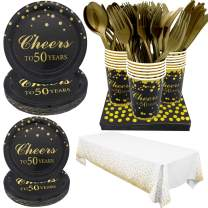 Pandecor 50th Birthday Party Supplies -Serves 20- 142 PCS Disposable Tableware Set,Includes Table Cover,Dinner Plates,Dessert Plates,Cups,Napkins,Forks,Knives and Spoons for 50 Years Anniversary Party