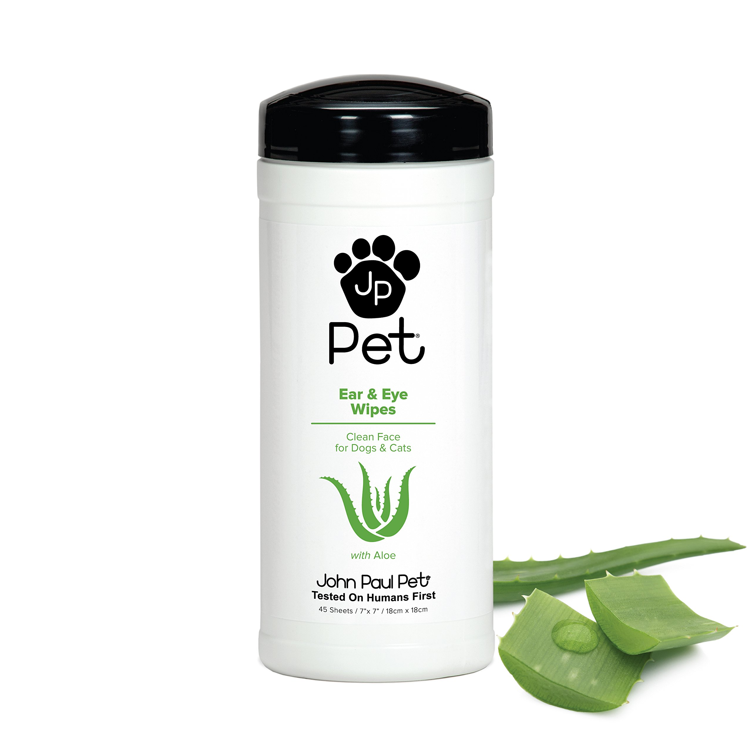 """John Paul Pet Ear and Eye Pet Wipes for Dogs and Cats, Infused with Aloe, 7"""" x 7"""" Sheets in 45-Count Dispenser, Unscented"""