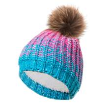 Winterproof Kids Knit Hat with Faux Fur Pompom, Kids Winter Beanies, Cold Weather Hat for Boys and Girls