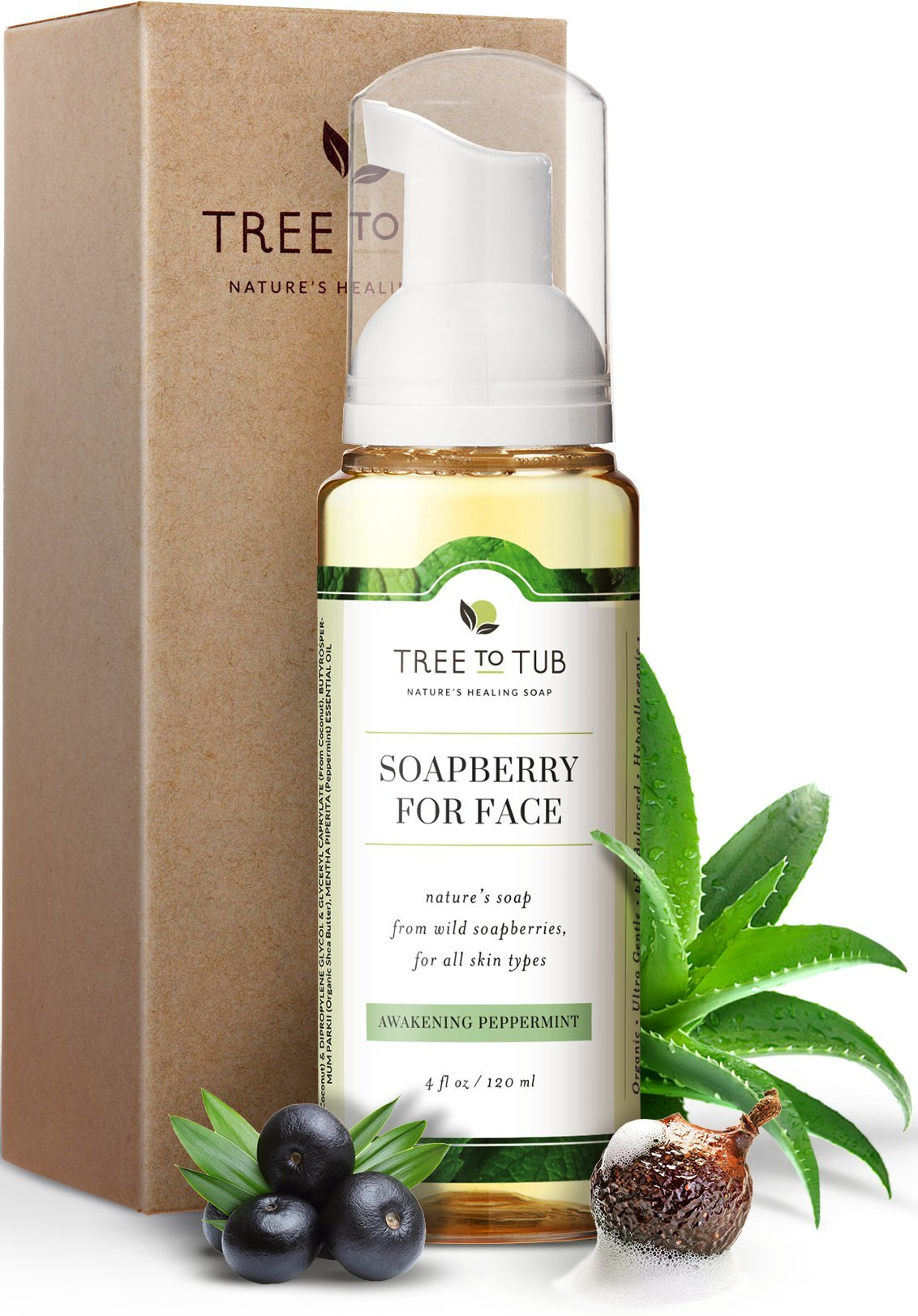 Gentle, Acne Face Wash for Oily Skin by Tree To Tub - pH 5.5 Balanced Refreshing Peppermint Foaming Cleanser for Sensitive Skin. Women and Mens Face Wash from Wild Soapberries, Organic Aloe Vera 4 oz