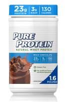 Pure Protein Powder, Natural Whey, High Protein, Low Sugar, Gluten Free, Rich Chocolate, 1.6 lbs
