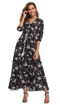 VintageClothing Women's Floral Maxi Dresses with Sleeves Flowy Boho Beach Dress